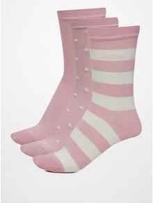 Súprava troch párov svetloružových dámskych vzorovaných ponožiek GANT