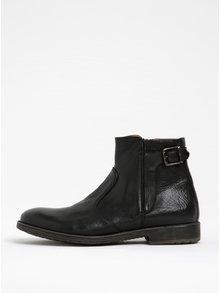 Čierne pánske kožené členkové topánky s prackou Geox Jaylon A