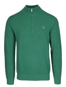 Zelený pánský svetr se zipem GANT