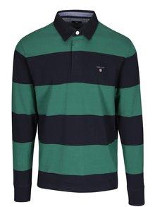 Zeleno-modré pruhované polo tričko s dlhým rukávom GANT Original