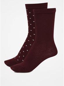 Súprava dvoch párov vínových dámskych ponožiek GANT