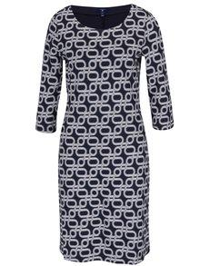 Tmavomodré vzorované šaty s 3/4 rukávmi GANT