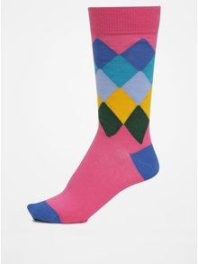 Modro-růžové pánské kárované ponožky GANT