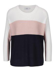Růžovo-modrý pruhovaný svetr s 3/4 rukávy ONLY Regitze