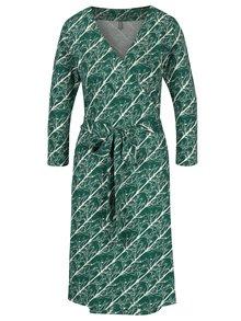 Krémovo-zelené vzorované zavinovací šaty se zavazováním Tranquillo Katia
