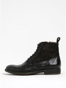 Čierne pánske kožené členkové topánky Geox Jaylon B