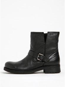 Čierne dámske kožené členkové topánky s prackou Geox New Virna
