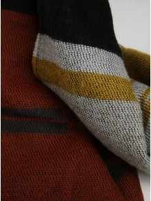 Sivo-žltý vzorovaný šál so strapcami Pieces Jade