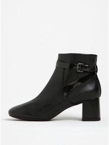 Čierne dámske kožené členkové topánky na podpätku Geox Audalies