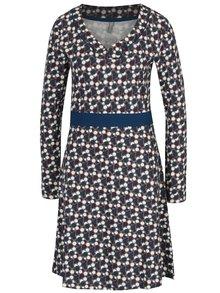 Krémovo-šedé puntíkované šaty s véčkovým výstřihem Tranquillo Gainko