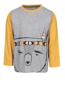 Sivo-žlté chlapčenské tričko s dlhým rukávom 5.10.15.
