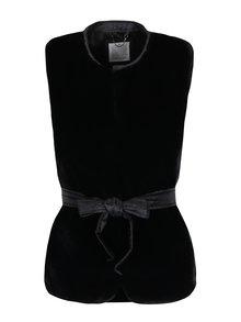 Čierna dámska funkčná páperová vesta s umelou kožušinou Geox