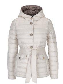 Krémová dámska prešívaná bunda s kapucňou Geox