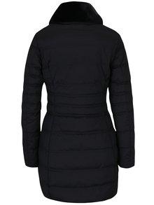Černý dámský prošívaný funkční péřový kabát s umělou kožešinou Geox