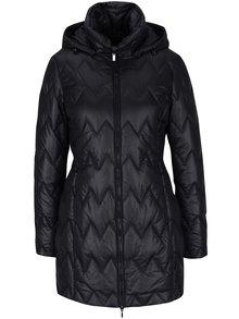 Čierny dámsky prešívaný funkčný kabát s kapucňou Geox