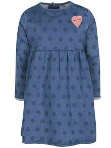 Modré puntíkované holčičí mikinové šaty 5.10.15.