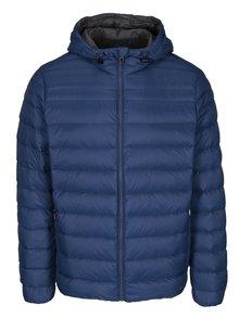 Modrá pánska prešívaná funkčná páperová bunda s kapucňou Geox