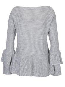 Pulover gri tricotat cu decolteu bărcuță - Haily's Nadine