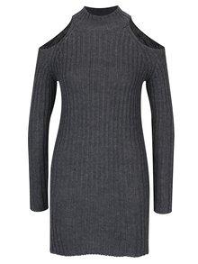 Tmavě šedý dlouhý svetr s průstřihy na ramenou Haily´s Larissa