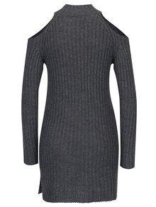 Tmavosivý dlhý sveter s prestrihmi na ramenách Haily's Larissa