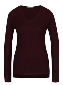 Vínový tenký sveter s véčkovým výstrihom Haily's Lara