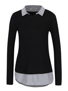 Čierny top s všitou košeľou Haily's Linda