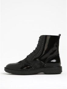 Černé dámské lesklé kotníkové kožené boty Geox Prestyn A