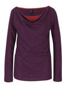 Tmavě fialové tričko s řasením v dekoltu Tranquillo Adria