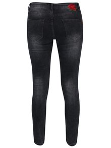 Tmavě šedé regular džíny s výšivkami a potrhaným efektem Haily´s Melinda