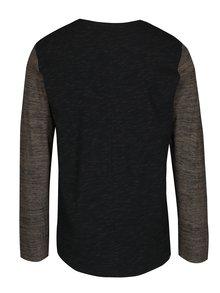 Zeleno-čierne pánske melírované tričko s dlhým rukávom Ragwear Tibor