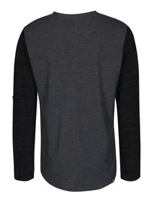 Čierno-sivé pánske melírované tričko s dlhým rukávom Ragwear Tibor