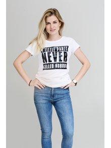 Biele dámske tričko s čiernou potlačou E2