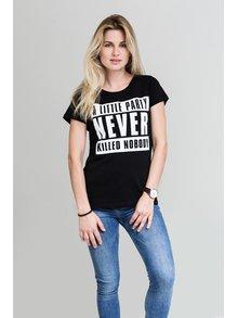 Čierne dámske tričko s bielou potlačou E2