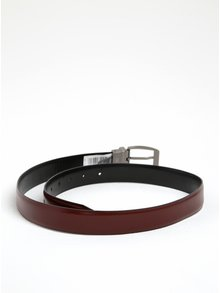 Vínovo-černý oboustranný kožený pásek Dice Idaho