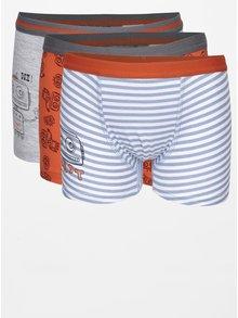 Sada tří klučičích vzorovaných boxerek v šedé a oranžové barvě 5.10.15.