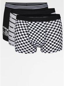 Súprava troch chlapčenských vzorovaných boxeriek v čiernej a bielej farbe 5.10.15.
