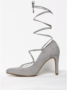 Pantofi gri cu șiret și toc cui OJJU