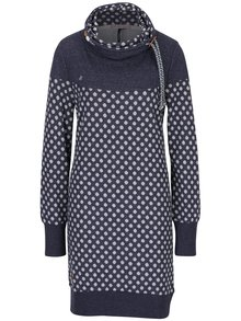 Tmavě modré puntíkované mikinové šaty s vysokým límcem Ragwear Chloe Dress