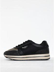 Čierne dámske tenisky na platforme Pepe Jeans Sally Sky