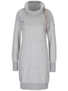 Světle šedé puntíkované mikinové šaty s vysokým límcem Ragwear Chloe Dress