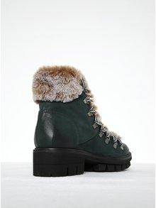 Zelené kožené členkové topánky s umelou kožušinou Tamaris