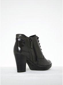 Tmavosivé kožené členkové topánky na podpätku Tamaris