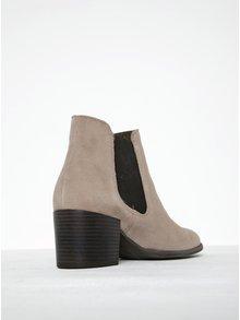 Krémové semišové chelsea topánky na podpätku Tamaris