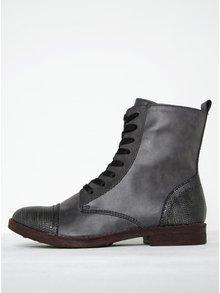 Sivé členkové topánky so vzorovanou špičkou s metalickými odleskmi Tamaris