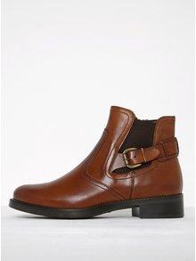 Hnědé kožené chelsea boty s přezkou Tamaris