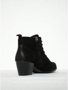 Čierne kožené členkové topánky na podpätku Tamaris