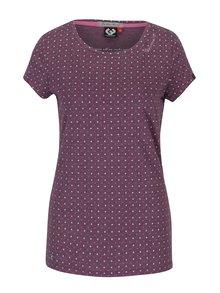 Fialové dámské puntíkované tričko Ragwear Mint Dots