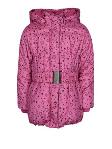 Ružová dievčenská prešívaná bunda s potlačou hviezd Blue Seven