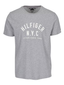 Šedé pánské žíhané tričko s krátkým rukávem Tommy Hilfiger Chase
