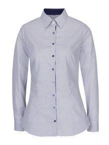 Biela dámska košeľa s tmavomodrým vzorom VAVI